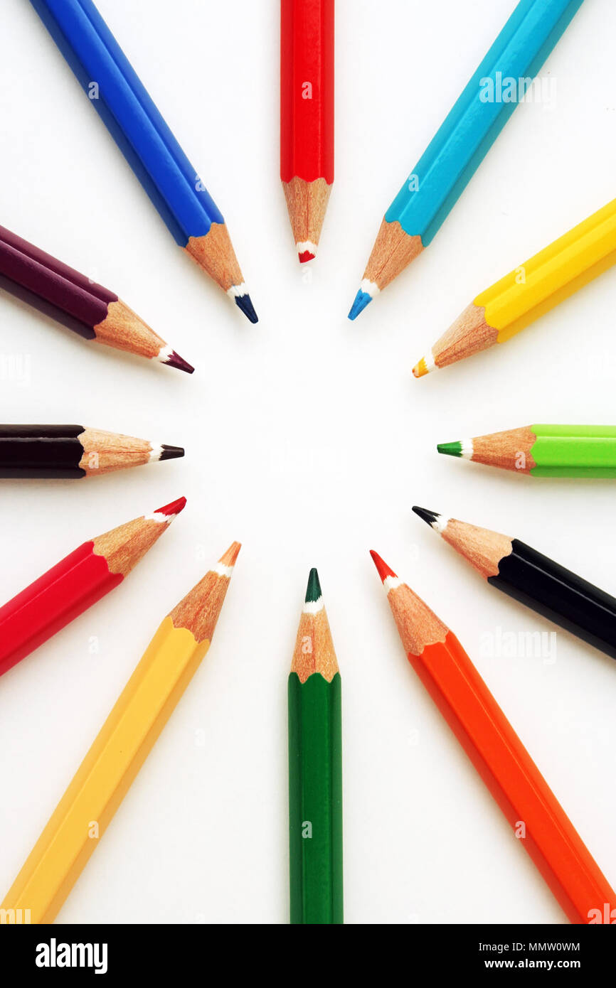 Crayons in various colors. Drawing crayons. - Stock Image