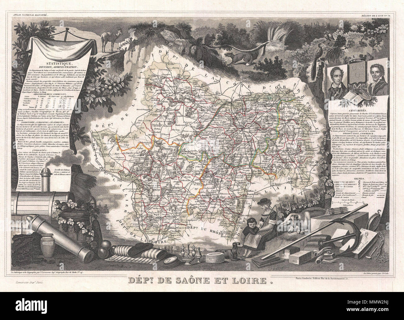 .  English: This is a fascinating 1852 map of the French department of Saone et Loire, France. Part of France's important Burgundy or Bourgogne Wine Region. Produces Mercurey and Givry among other red wines. Around Mâcon are whites of fine quality, notably Rully, Montagny, and also Pouilly-Fuissé, a dry, heady wine with much bouquet. The map proper is surrounded by elaborate decorative engravings designed to illustrate both the natural beauty and trade richness of the land. There is a short textual history of the regions depicted on both the left and right sides of the map. Published by V. Lev - Stock Image