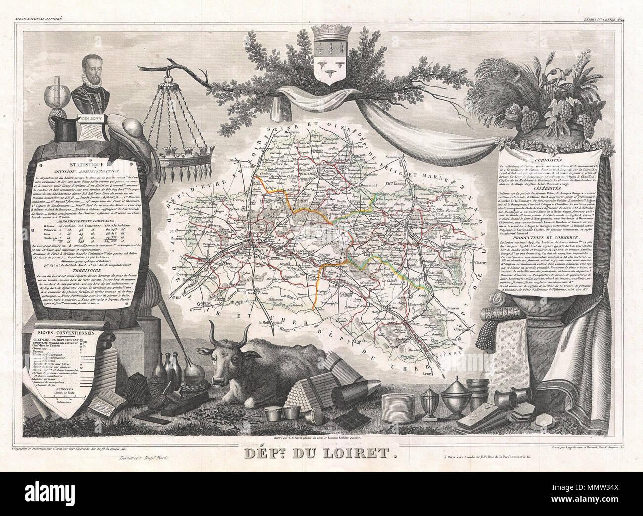 Loiret Orléans Orleans & Environs Sketch Map 1885 Old Antique Plan Chart