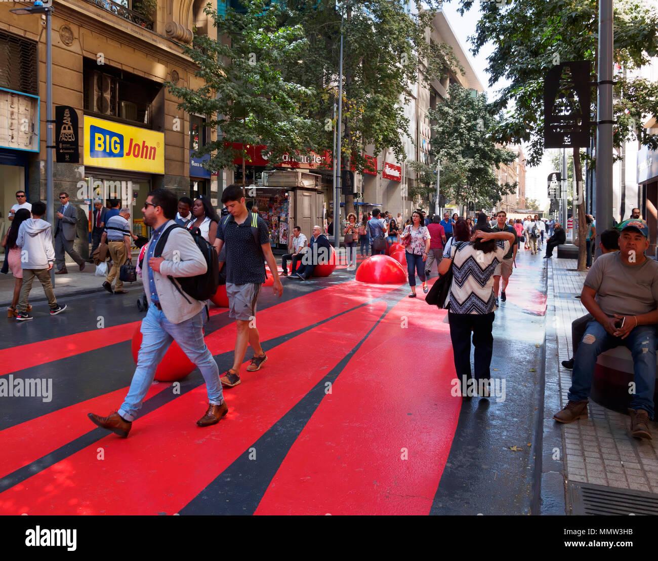 Pedestrianized street, Santiago, Chile - Stock Image