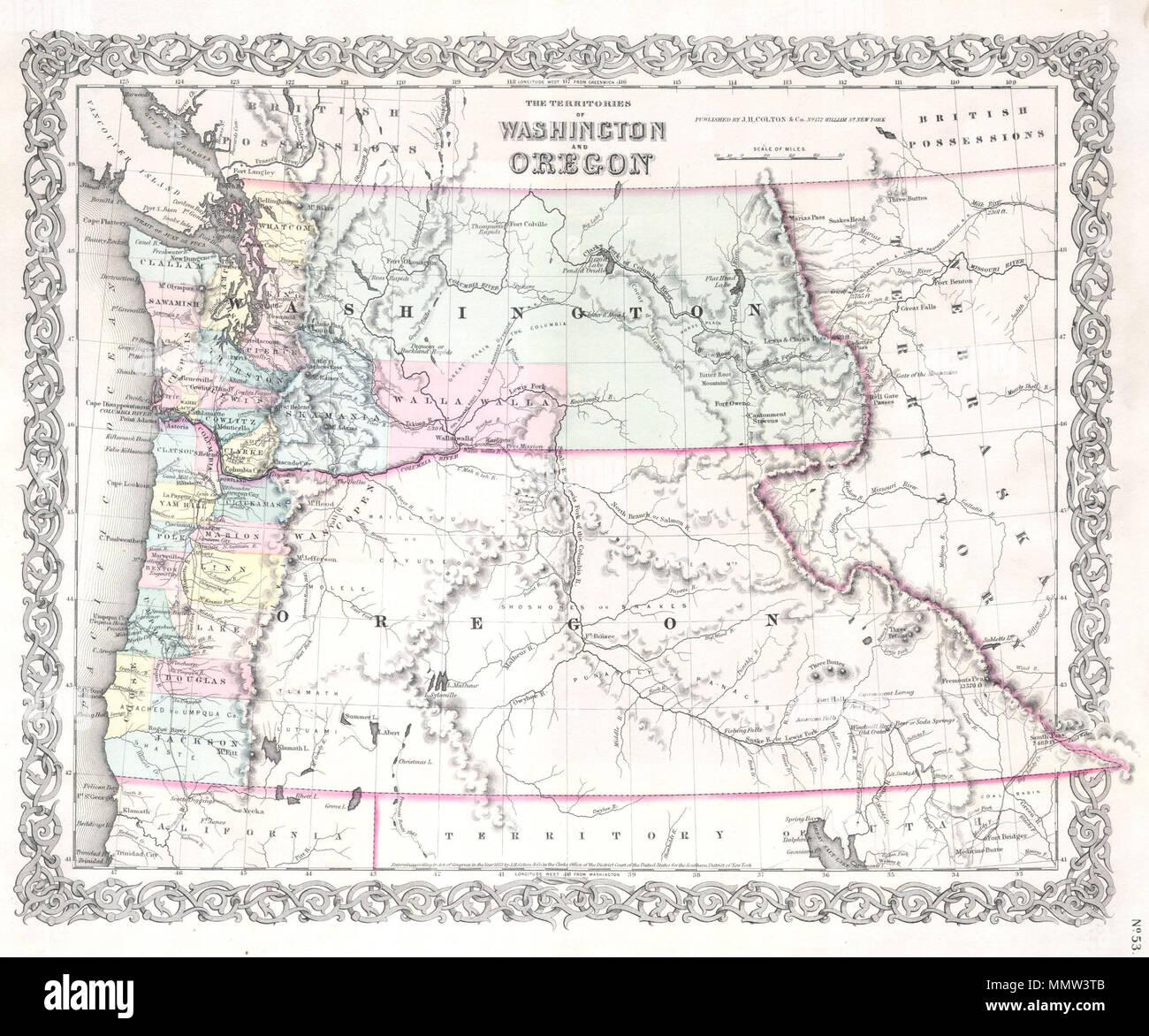 English: An attractive 1853 Colton Map Washington and Oregon ... on