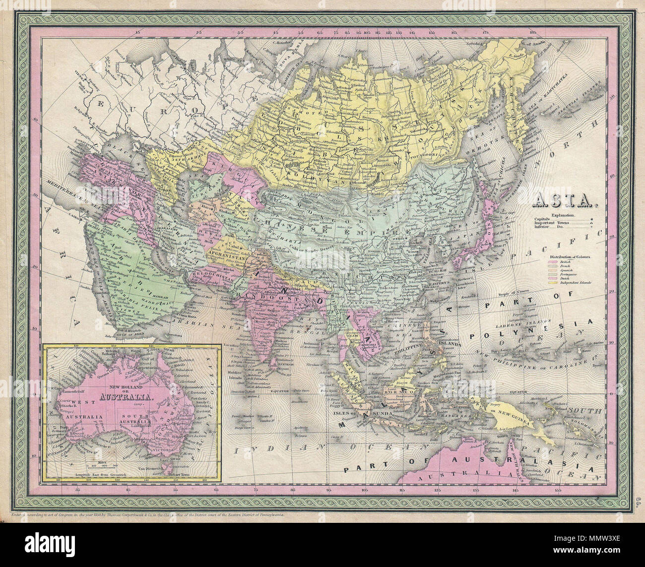 Australia Map 1850.English An Extremely Attractive Example Of S A Mitchell Sr S