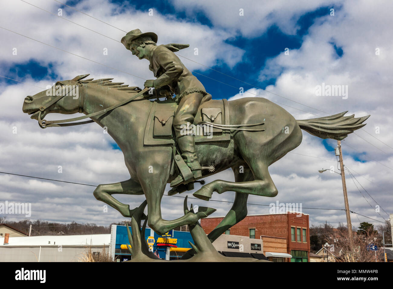 Equestrian Statue Commemorating the Pony Express, Marysville Kansas, Midwestern USA - Stock Image