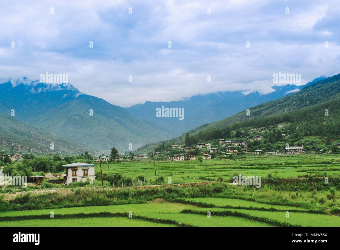 The Landscape of Paro Valley in Bhutan - Stock Image
