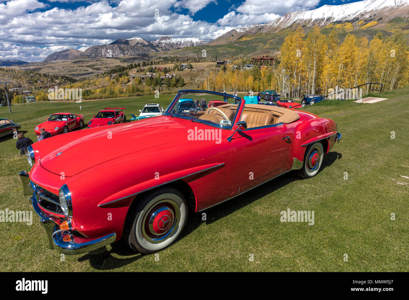 September 24 2017 vintage red mercedes at telluride car - Mercedes car show ...
