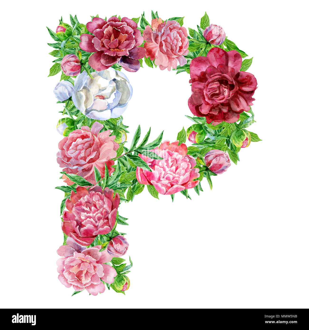 Letter P Of Watercolor Flowers Stock Image