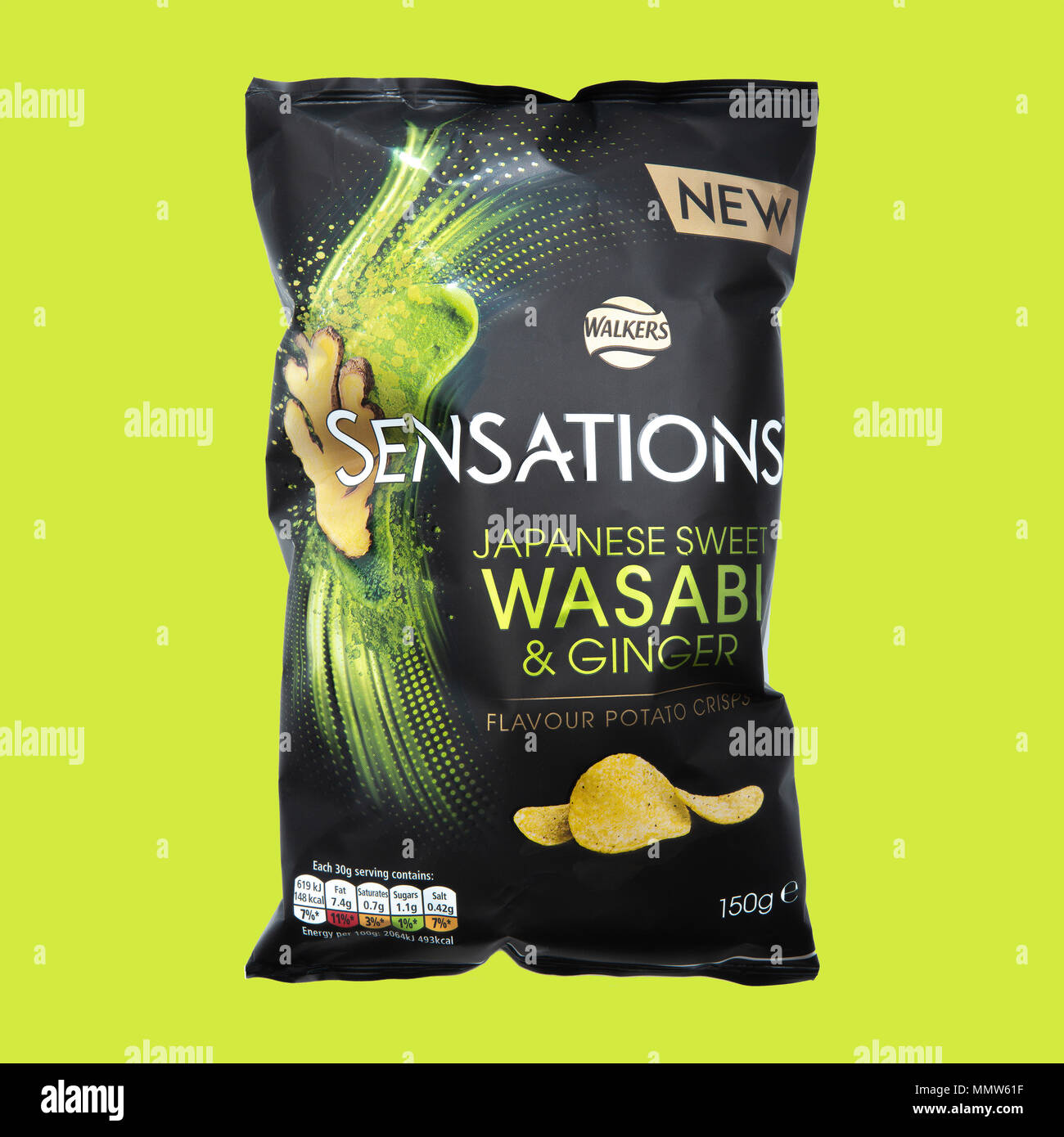 SWINDON, UK - MAY 13, 2018: Walkers Sensations Japanese Sweet Wasabi and Ginger Flavour Potato Crisps on a lime green background - Stock Image