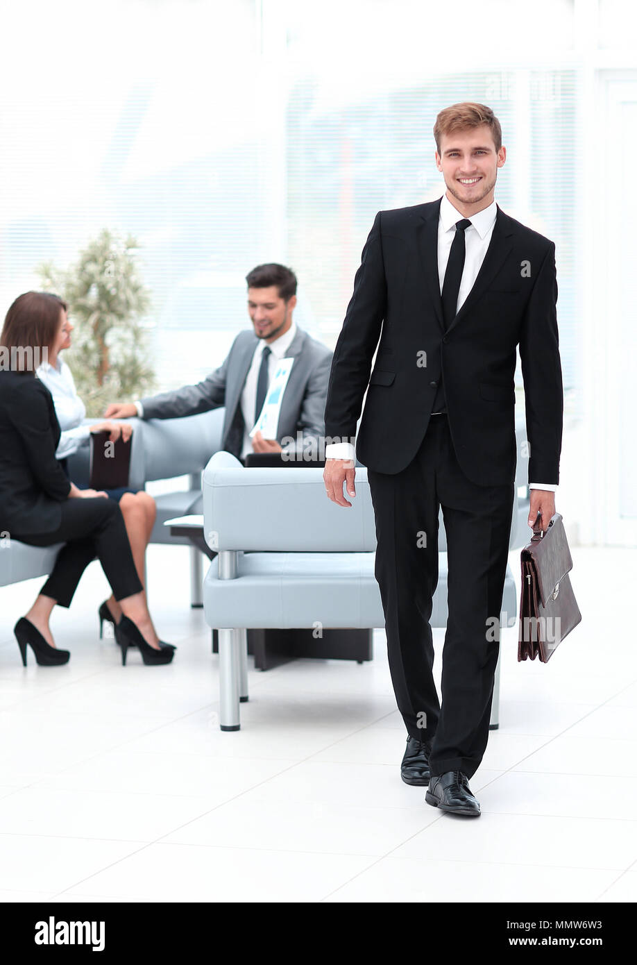 portrait in full growth. an experienced attorney out of the office. - Stock Image