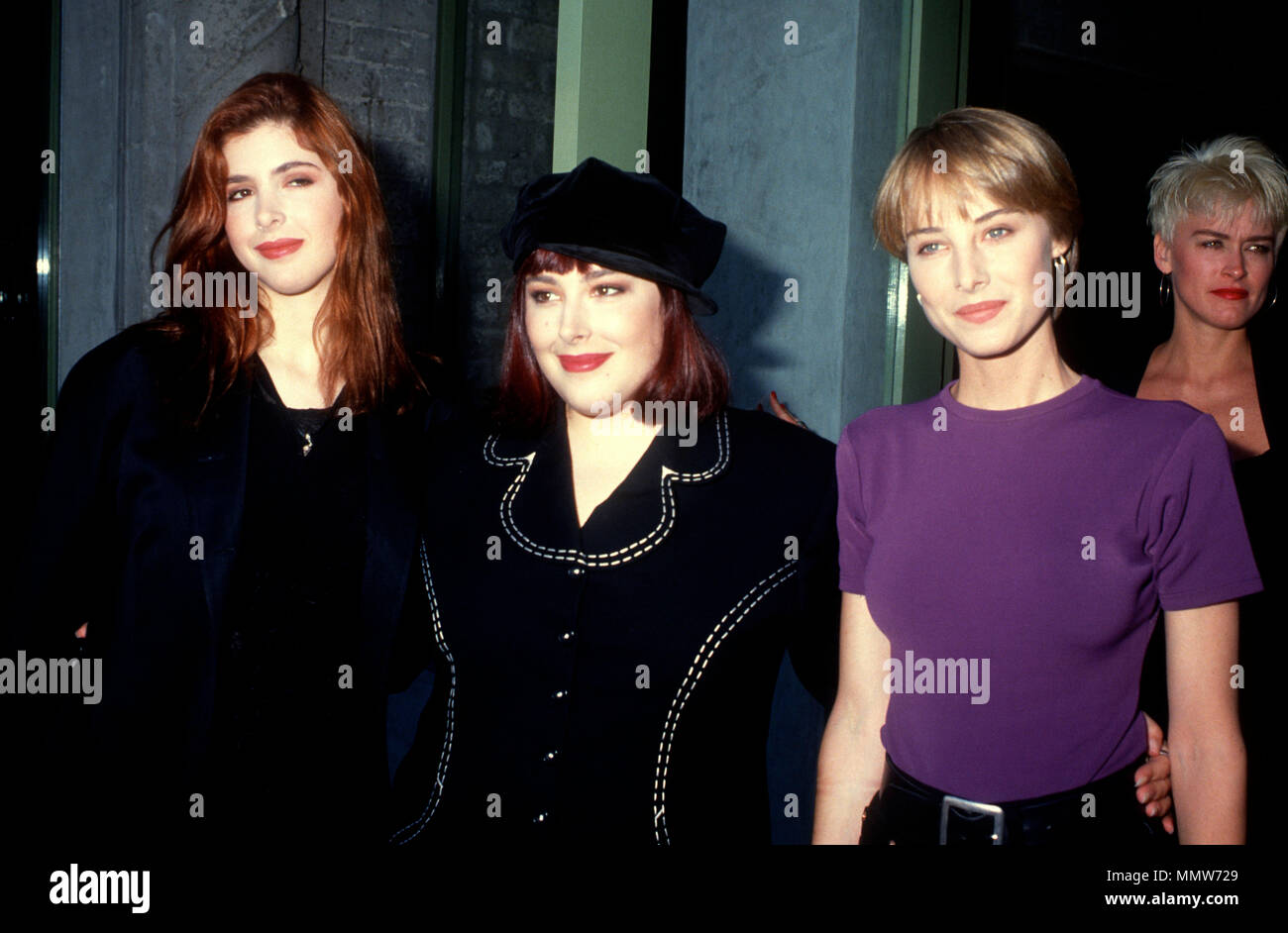 LOS ANGELES, CA - JULY 09: (L-R) Singers Wendy Wilson, Carnie Wilson and Chynna Phillips of Wilson Phillips attend press conference on July 9, 1990 in Los Angeles, California. Photo by Barry King/Alamy Stock Photo - Stock Image
