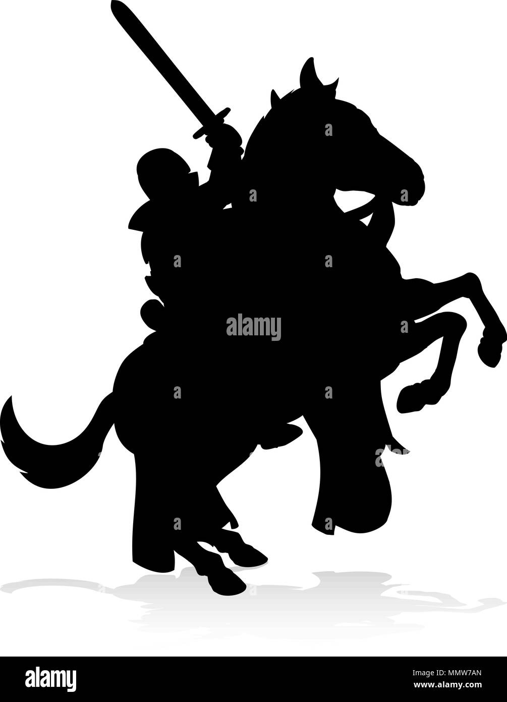 Silhouette Knight on Horse - Stock Vector