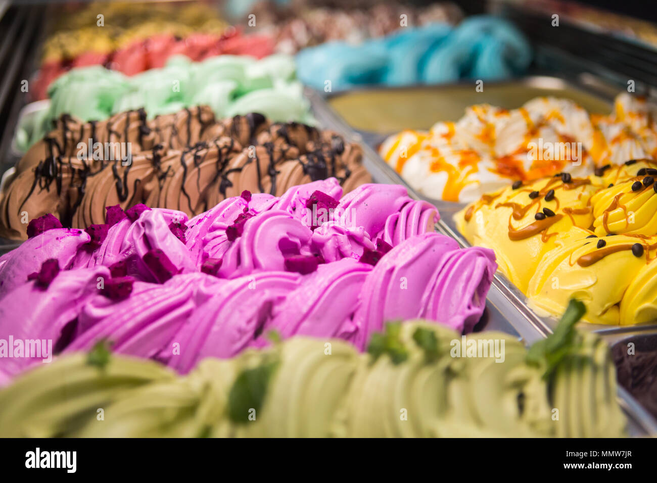 Close up picture of different gelato on display - Stock Image