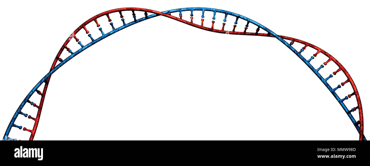 DNA, Deoxyribonucleic acid is a thread-like chain of nucleotides carrying the genetic instructions of all known living organisms. DNA helix - Stock Image