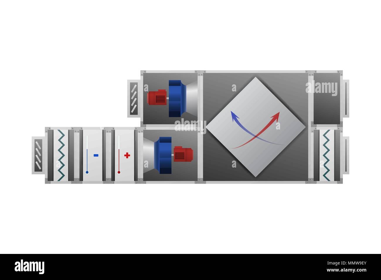Air handling unit. HVAC industry - Stock Vector