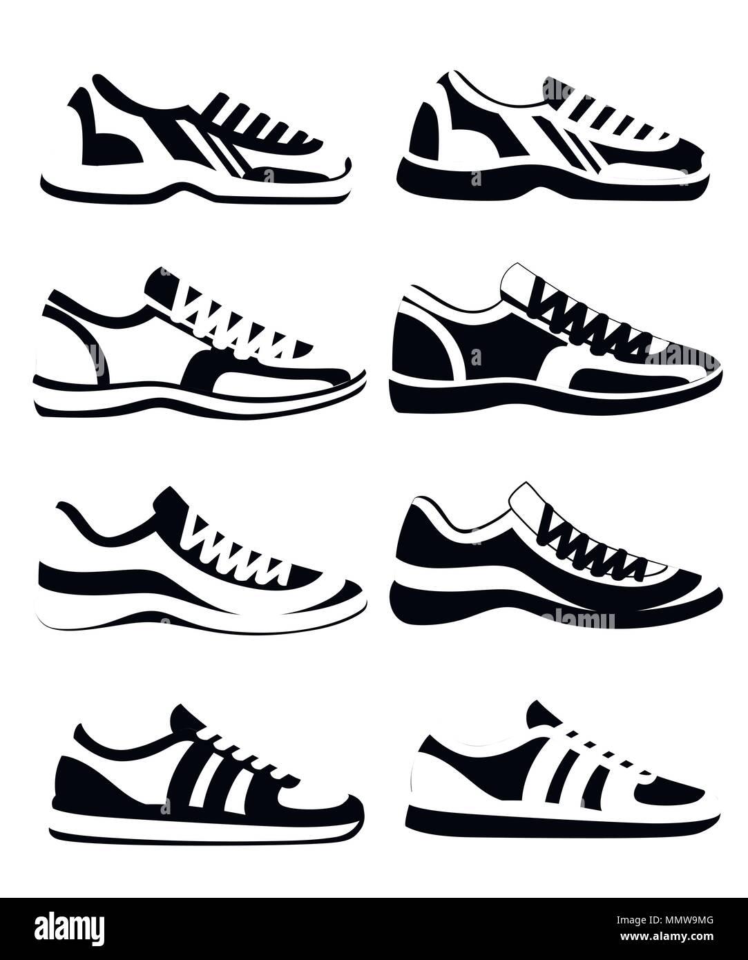 Black silhouette. Sneaker shoe. Athletic sneakers vector illustration 506be72c1