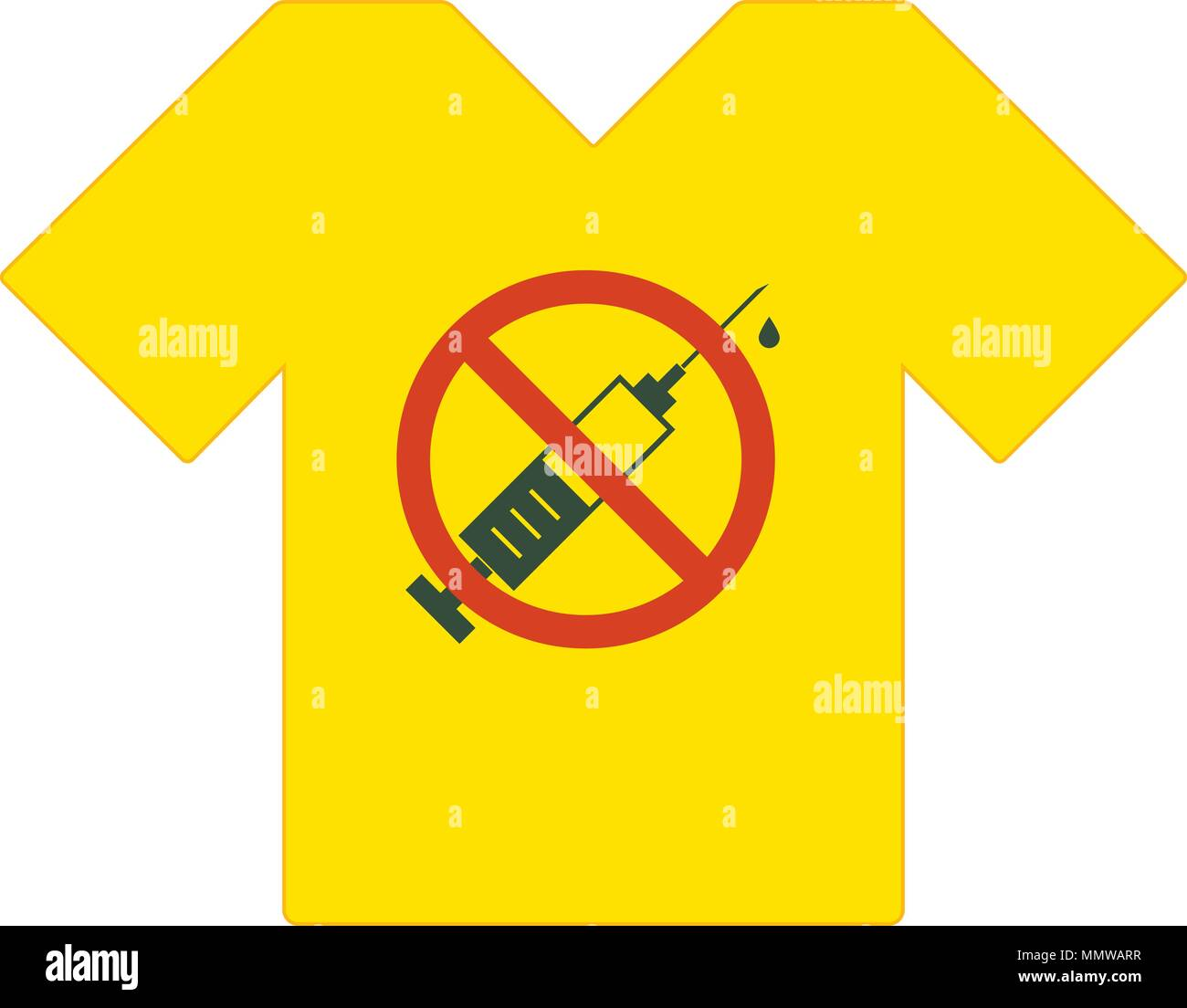 Yellow t-shirt. No drugs allowed. Syringe with forbidden sign - no drug. Syringe icon in prohibition red circle. Anti drugs. Just say no. T-shirt temp - Stock Image