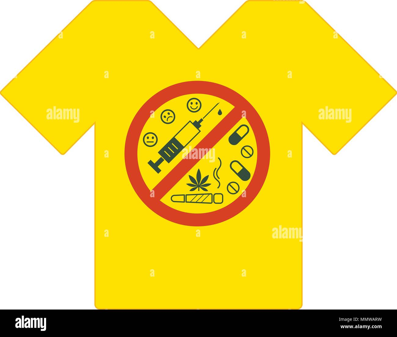 Yellow tee shirt. No drugs allowed. Drugs, marijuana leaf with forbidden sign - no drug. Drugs icon in prohibition red circle. Anti drugs. Just say no - Stock Image