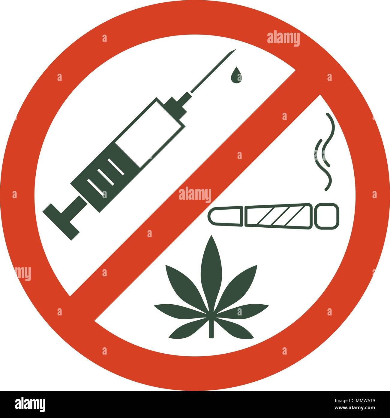 No drugs allowed. Drugs, marijuana leaf with forbidden sign - no drug. Drugs icon in prohibition red circle. Anti drugs. Just say no. Isolated vector  - Stock Image