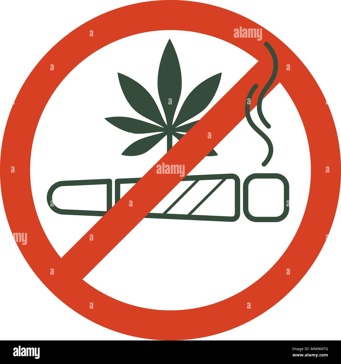 No drugs allowed. Marijuana joint, spliff, with forbidden sign - no drug. Cannabis cigarette icon in prohibition red circle. Anti drugs. Just say no.  - Stock Image