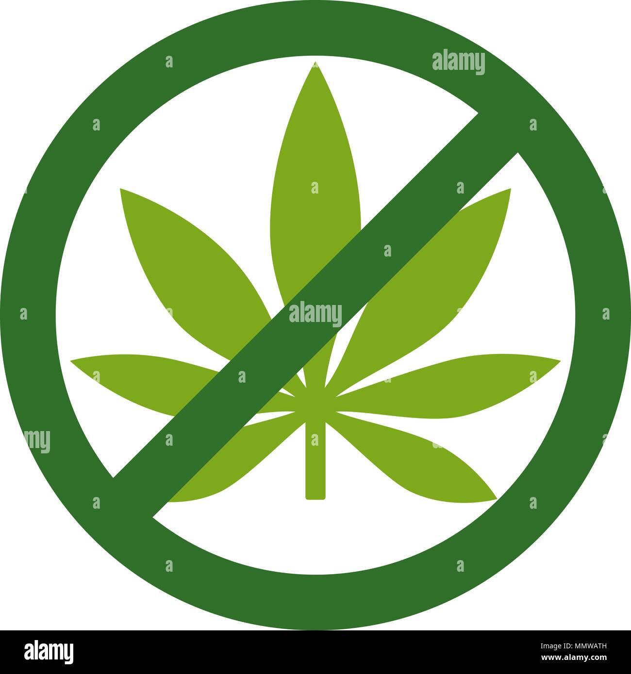 Marijuana Leaf with forbidden sign - no drug. No to marijuana. Cannabis leaf icon in prohibition green circle. No drugs allowed. Anti drugs. No smokin - Stock Image