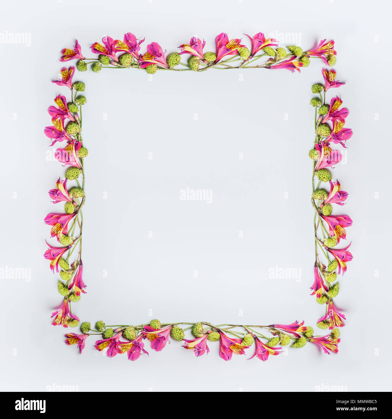 Creative Floral Design Frame Layout With Pink And Green Exotic