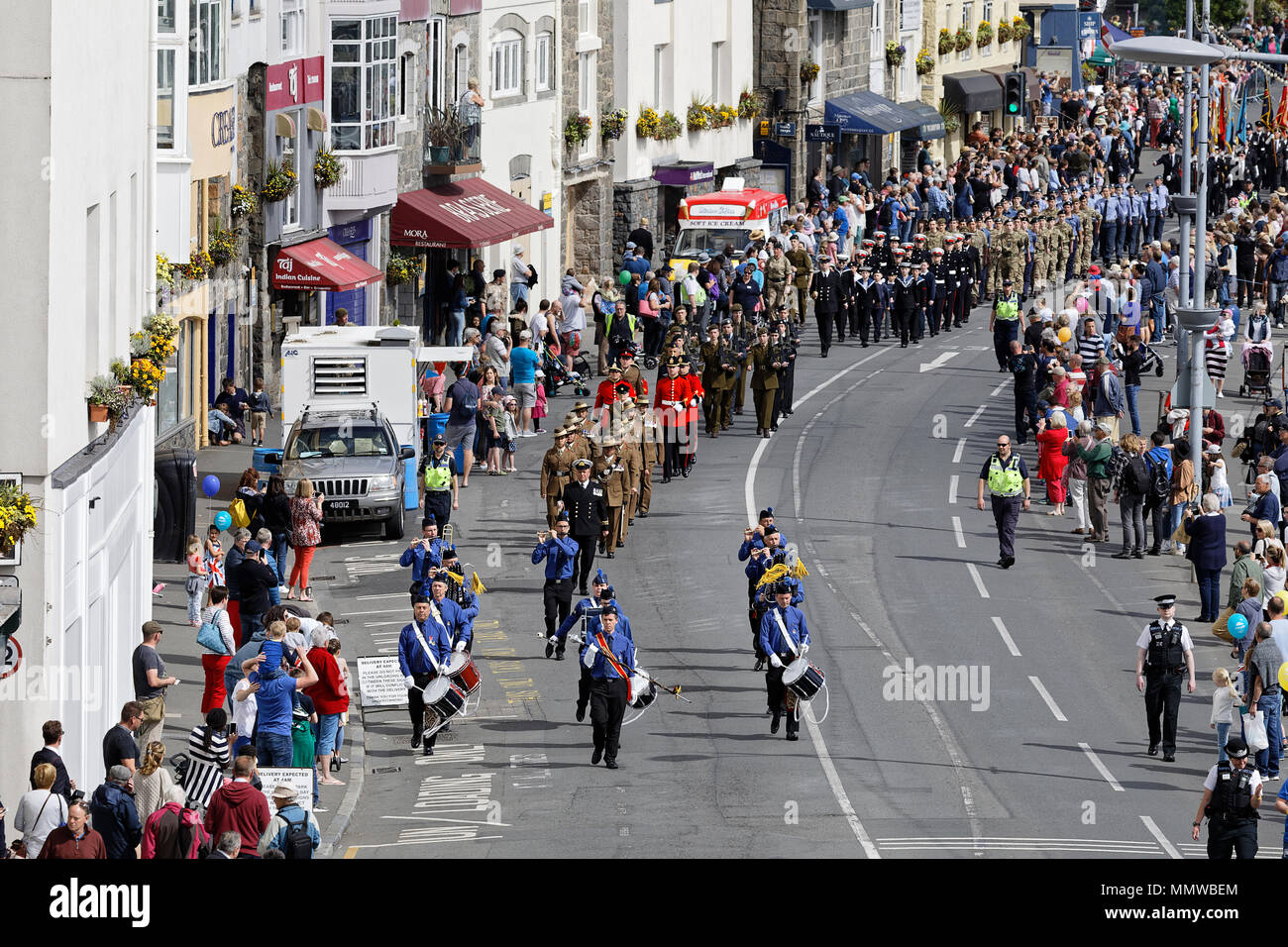 The annual Liberation Day Church Parade in St Peter Port, Guernsey - Stock Image