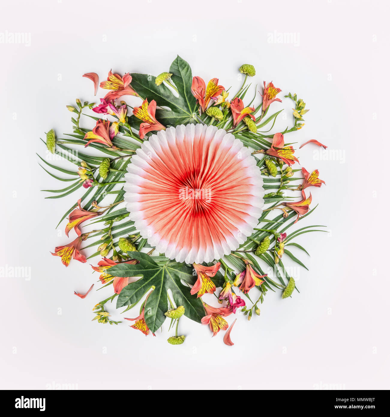 Summer Tropical Round Flowers Composition With Palm Leaves And
