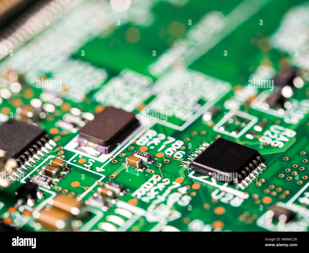 Electronic Circuit Board Capacitors Integrated Stock Photos Close Up Of With Circuits Resistors And