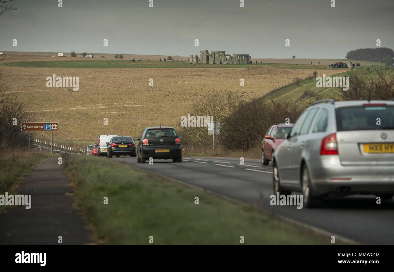 A303 Stonehenge where a tunnel is expected to be built to protect the land around the herritage site  17/02/17 - Stock Image