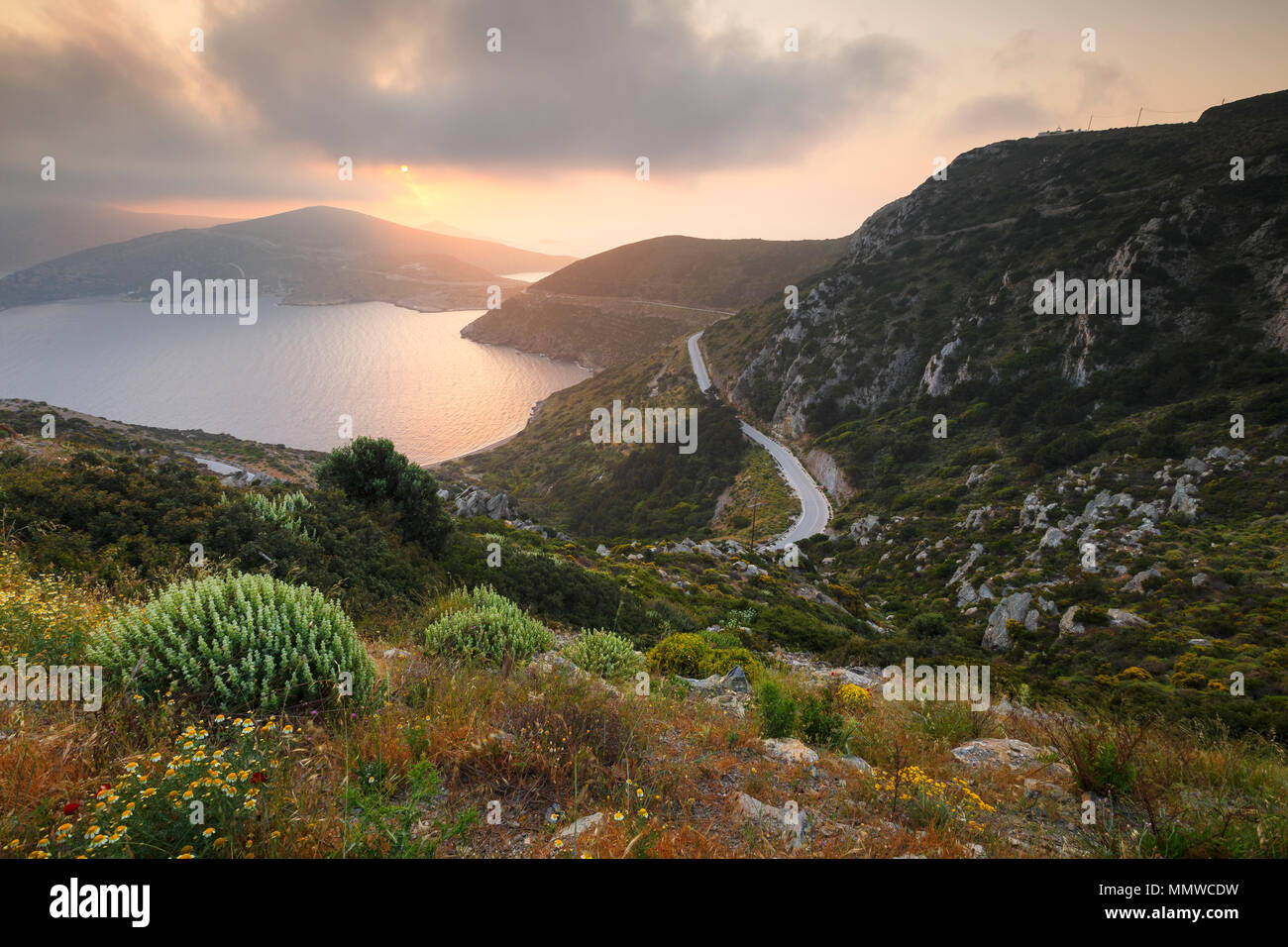 Moody morning view of the Fourni coastline, Greece. - Stock Image
