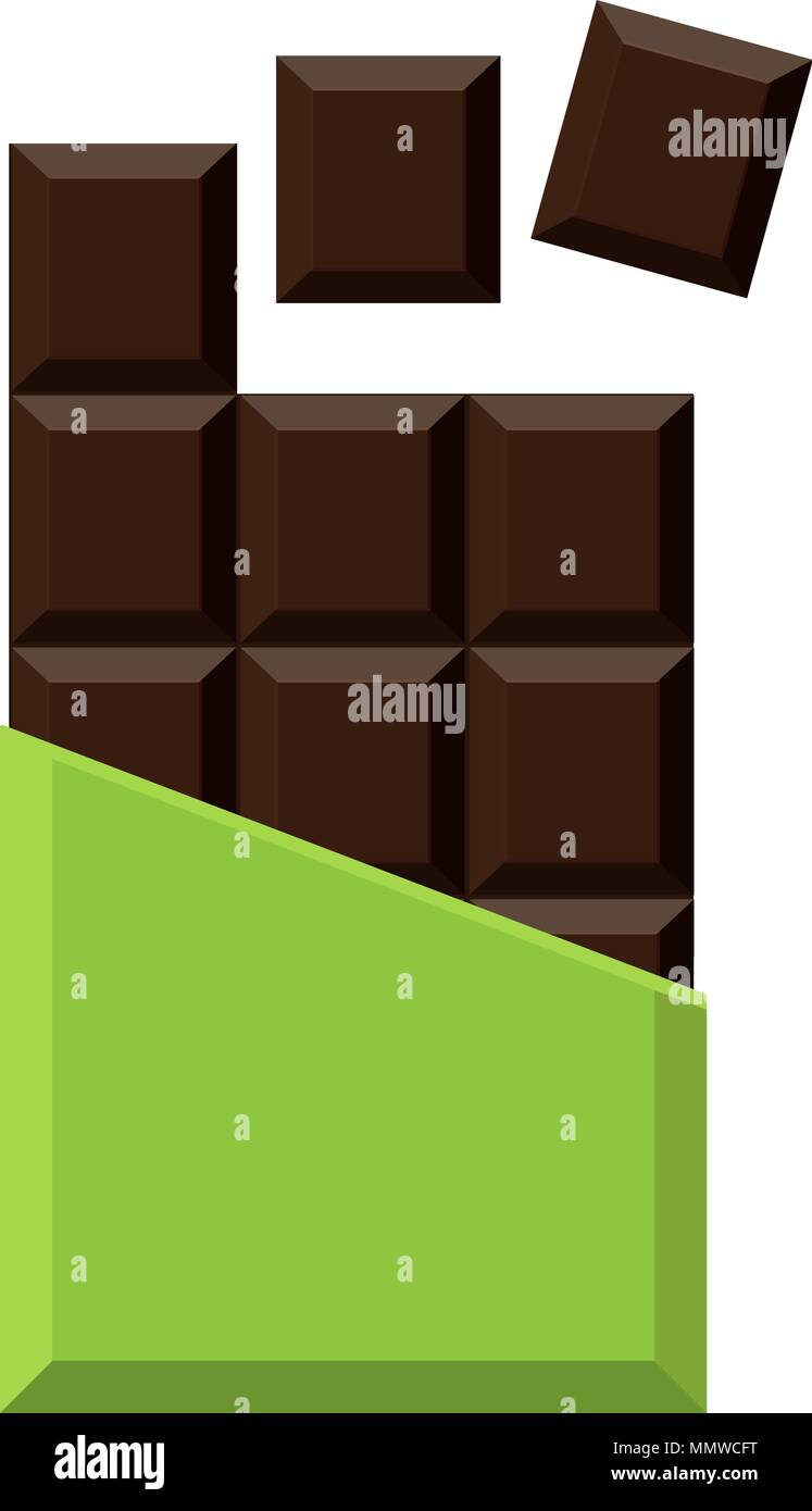 Realistic chocolate bar isolated on white background. Packaging. Mock up. Vector illustration. - Stock Vector