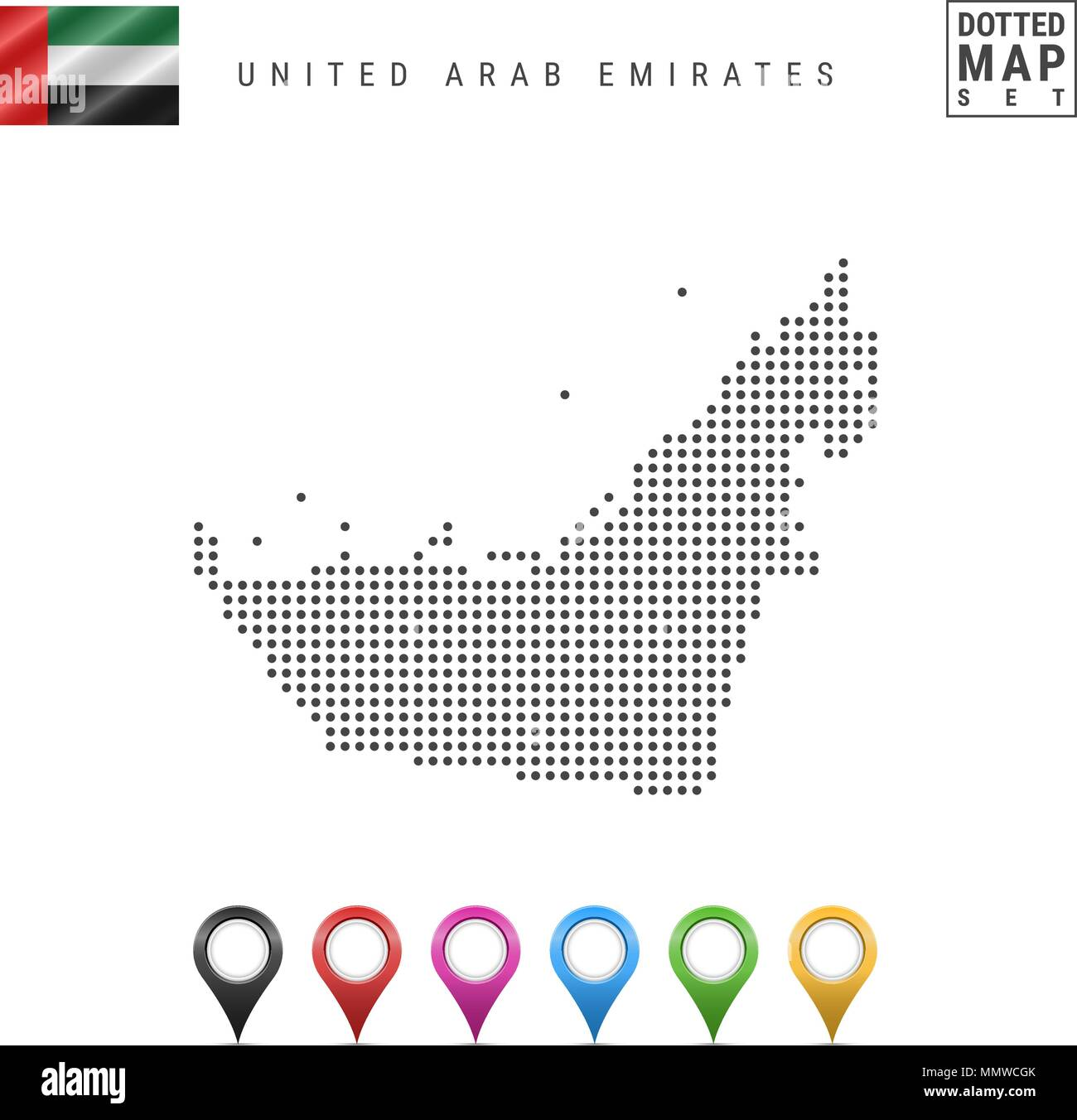Vector Dotted Map of United Arab Emirates. United Arab Emirates Silhouette. United Arab Emirates Flag. Map Markers Set - Stock Image