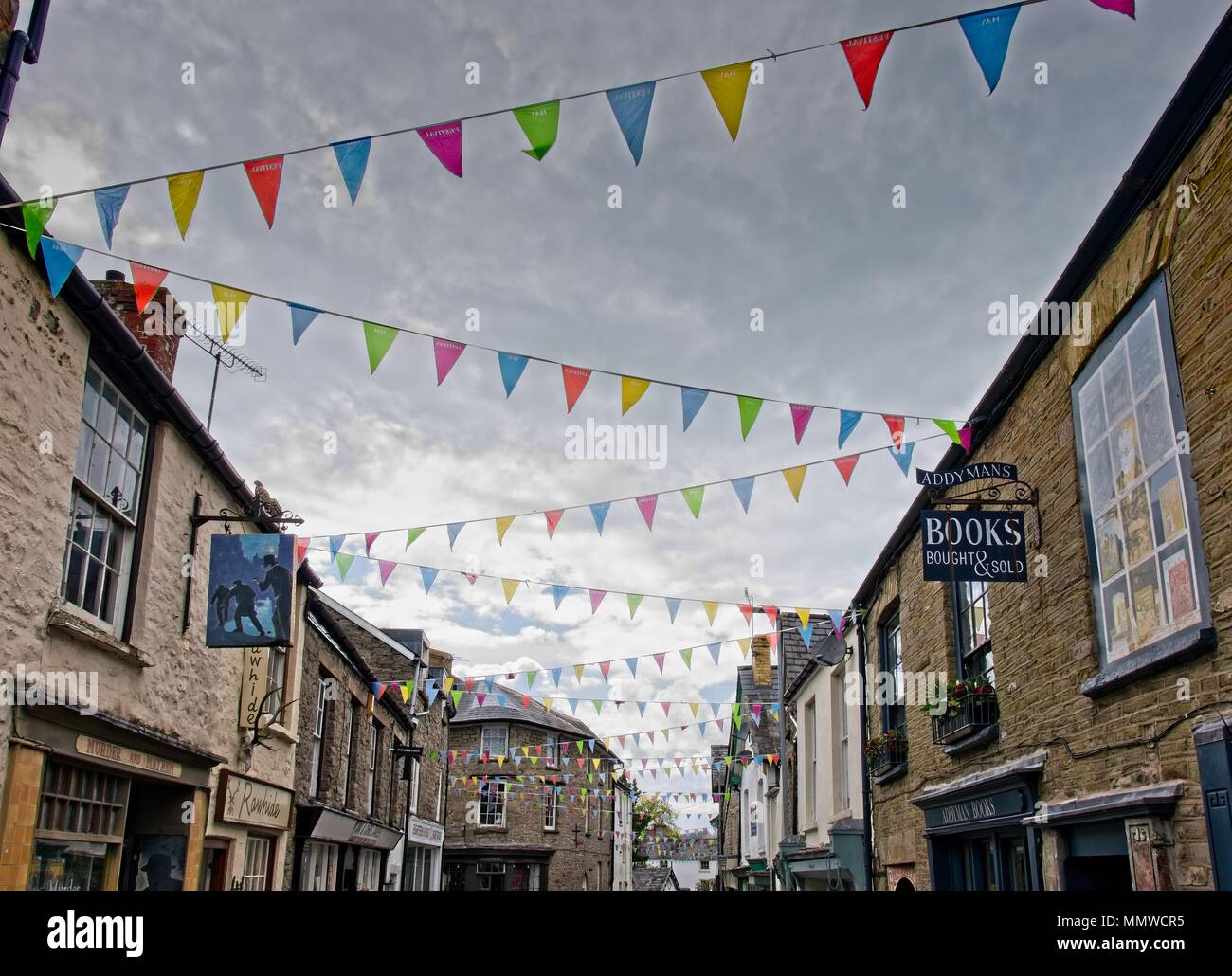 Literary Festival bunting across the street in Hay-on-Wye, Powys, Wales - Stock Image