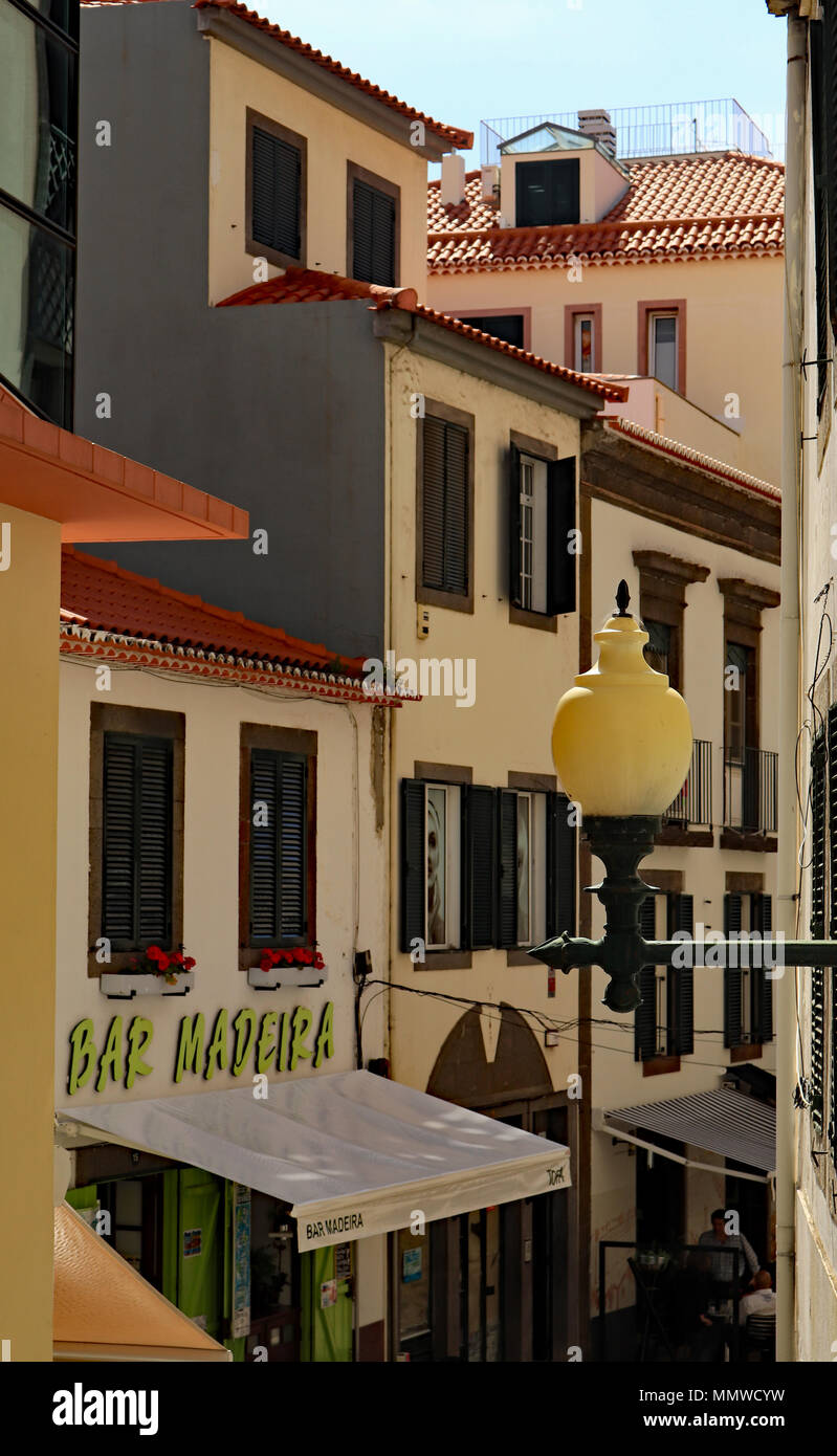 Hidden away on one of the side streets on Portuguese island of Madeira, The Bar Madeira in Funchal on the island of Madeira itself. - Stock Image