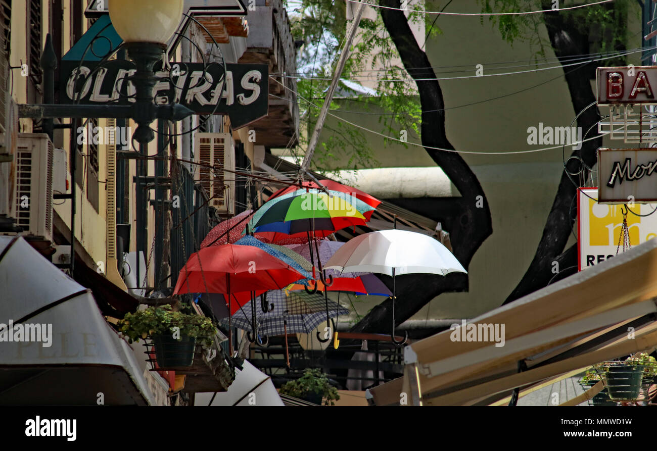 A colourful collection of Umbrellas hung outside a bar in Funchal on the holiday island of Madeira. - Stock Image