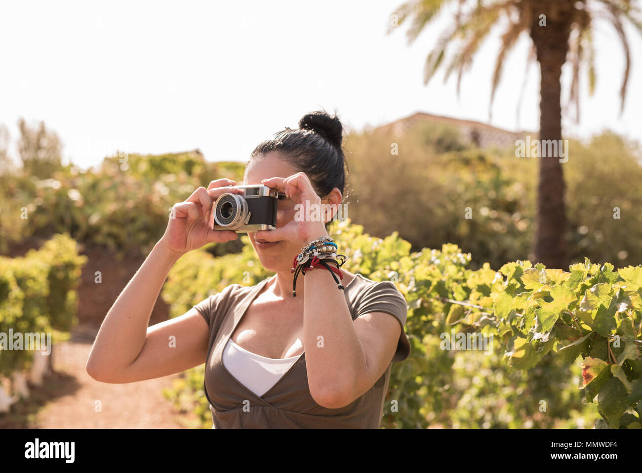 A woman taking a photo in the vineyards wearing summer clothing and her hair tied up in a bun Stock Photo