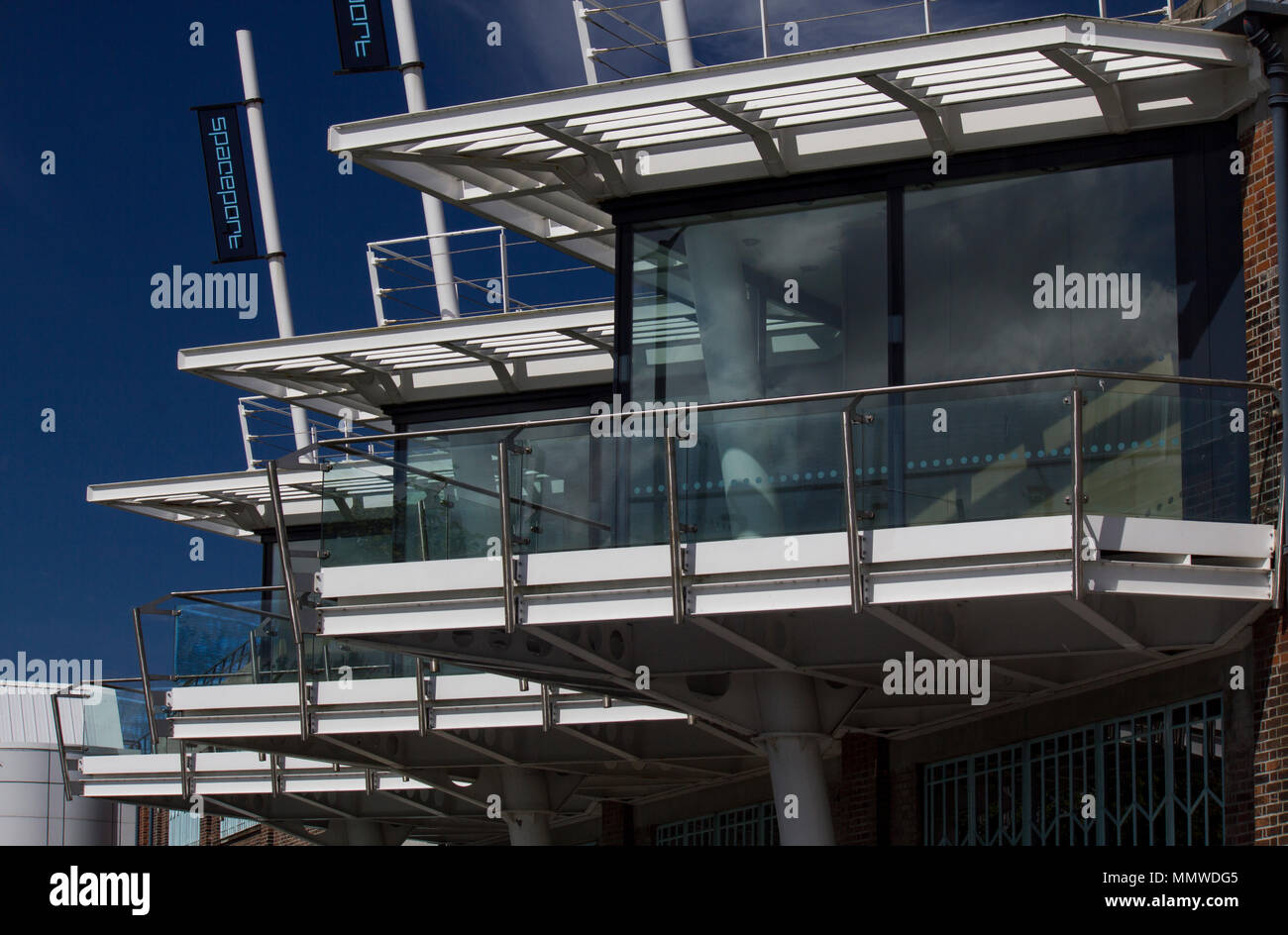 A collection of windows at Spaceport, Seacome Ferry, Wallasey, Wirral, Merseyside - Stock Image