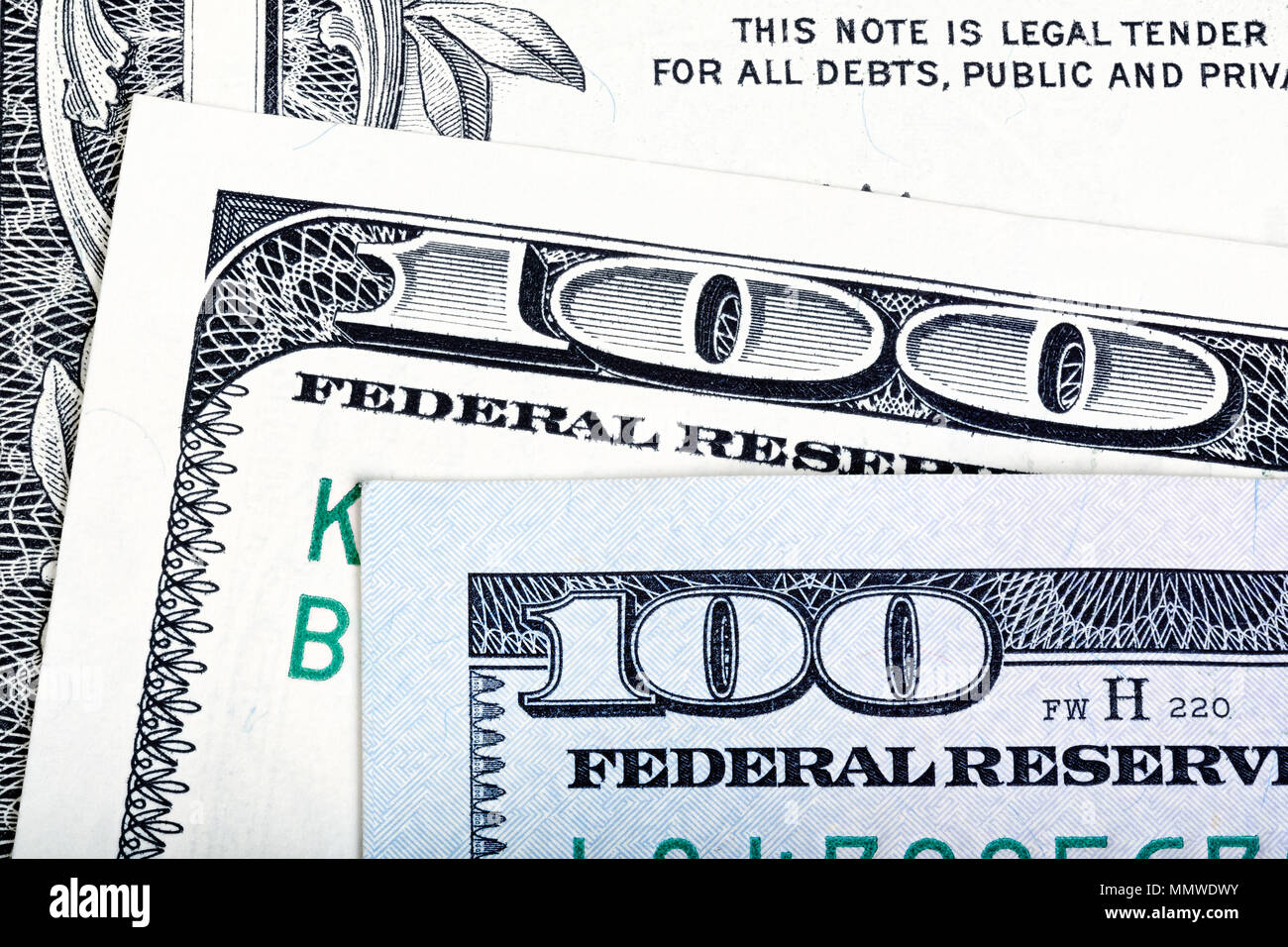 Old end new bills of one hundred US dollar on notes background.  - Stock Image