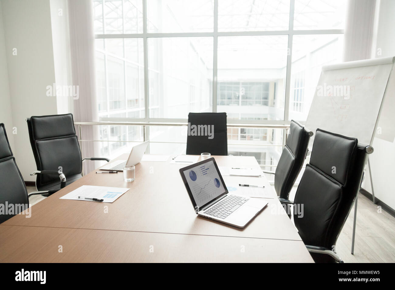 Modern Office Boardroom Interior With Conference Table And Big W - Big conference table