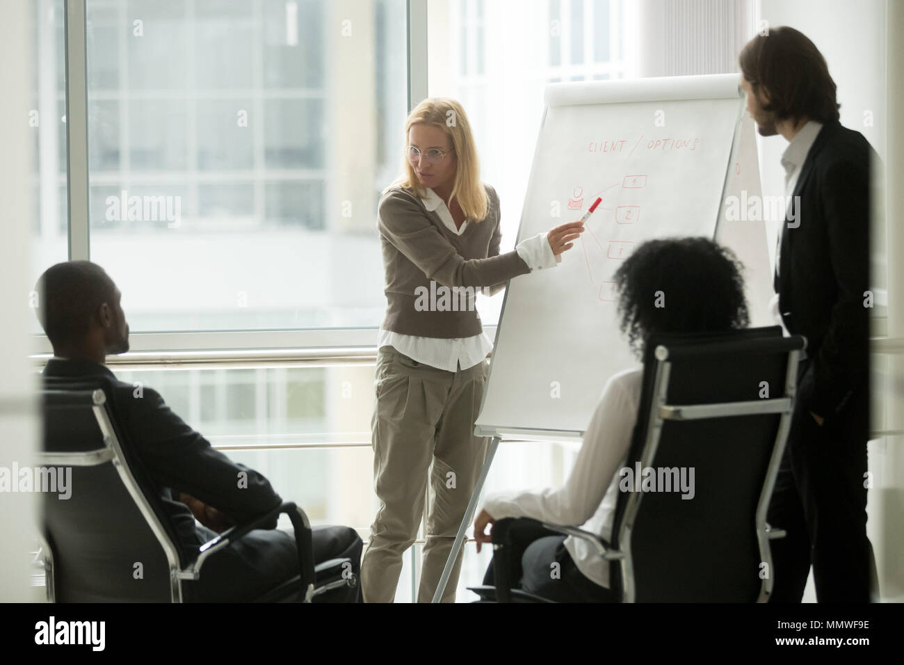 Businesswoman leader or business coach giving presentation to di - Stock Image
