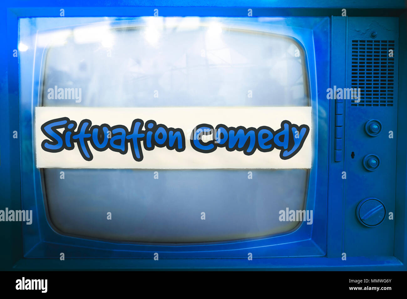 situation comedy blue tv series genre television label old tv text sitcom vintage retro background - Stock Image
