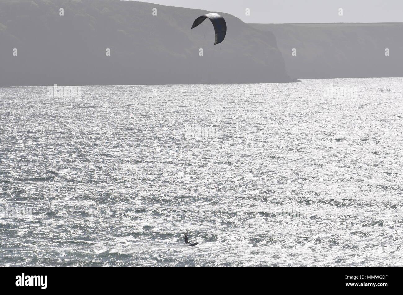 Kite surfer at Broad Haven Pembrokeshire Wales UK - Stock Image