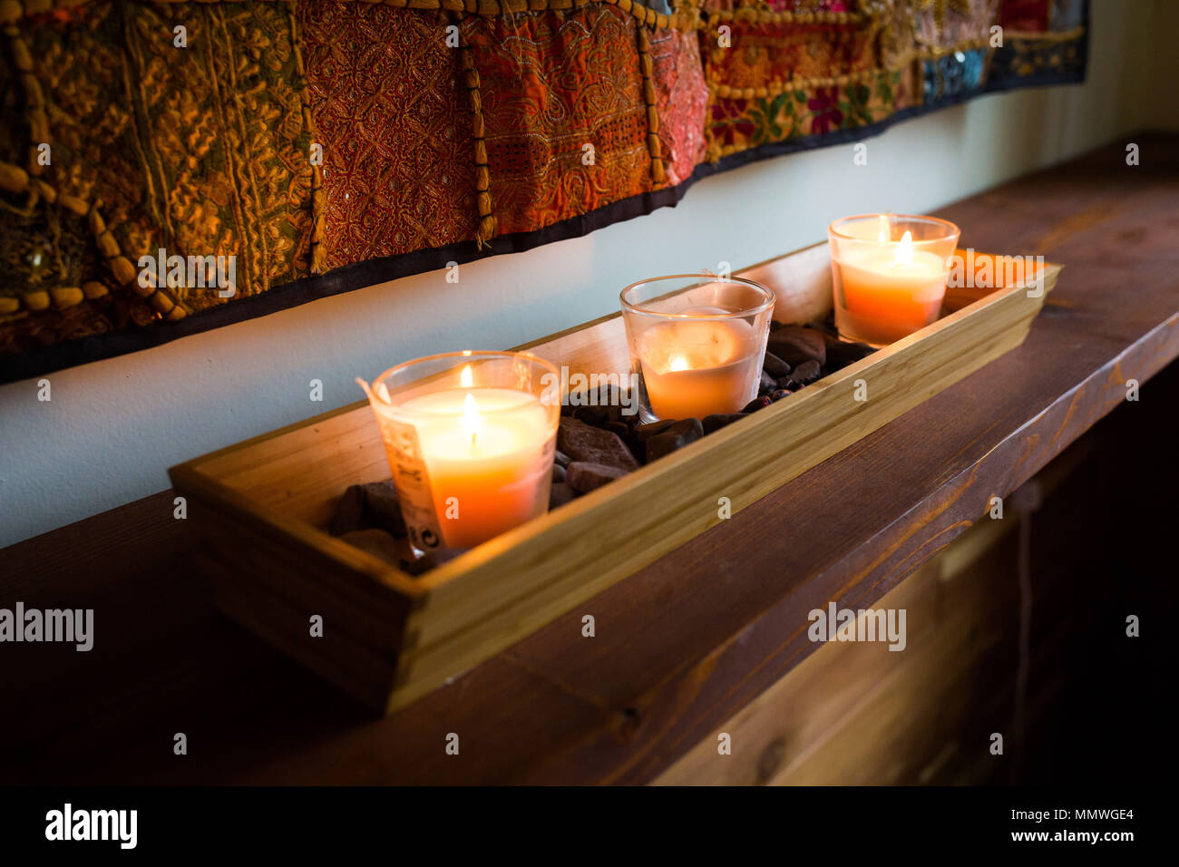 Romantic candles room decoration cozy bedroom interior & Romantic candles room decoration cozy bedroom interior Stock Photo ...
