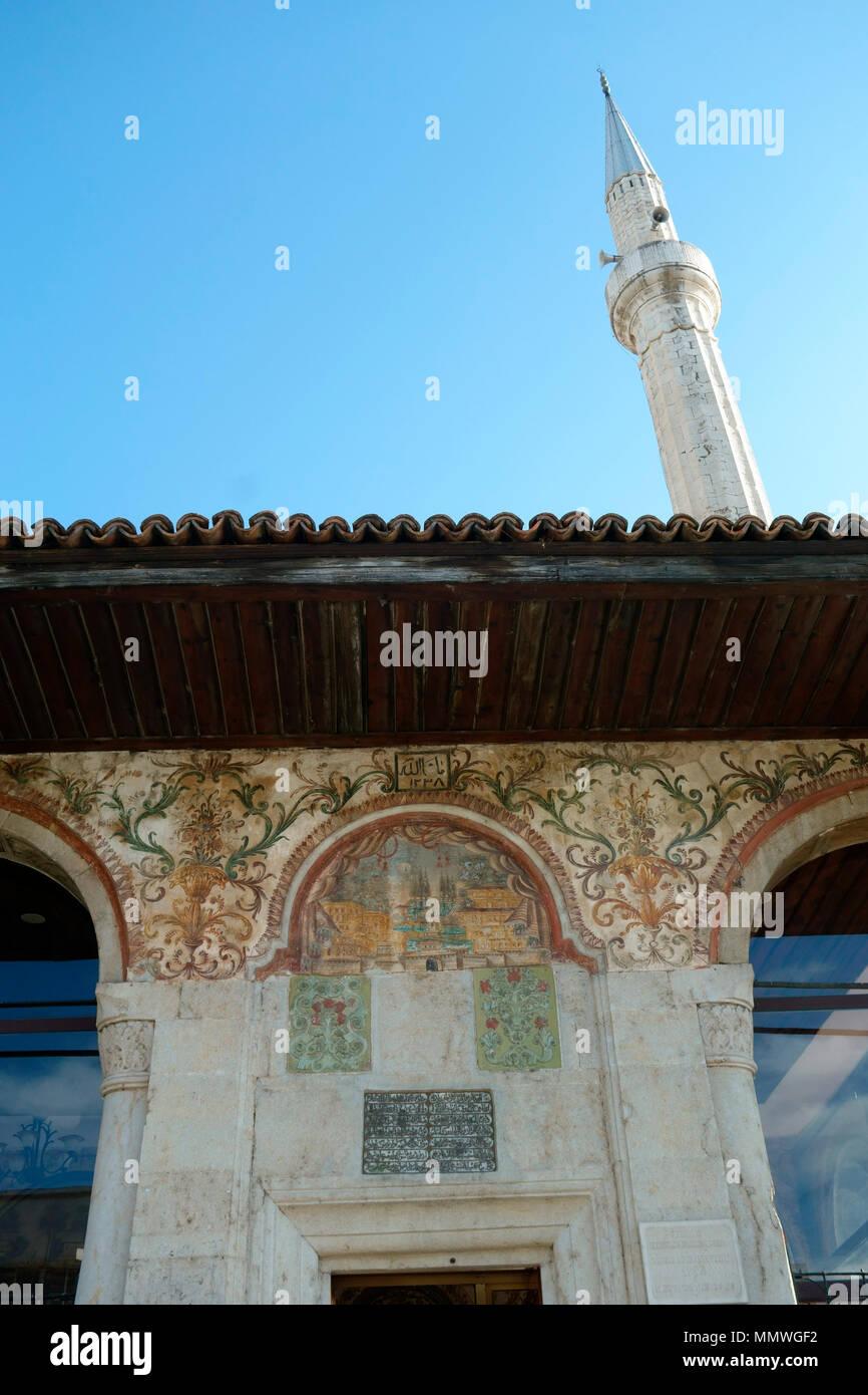 Et'hem Bey Mosque on Skanderbeg Square in Tirana, Albania, Balkans Stock Photo
