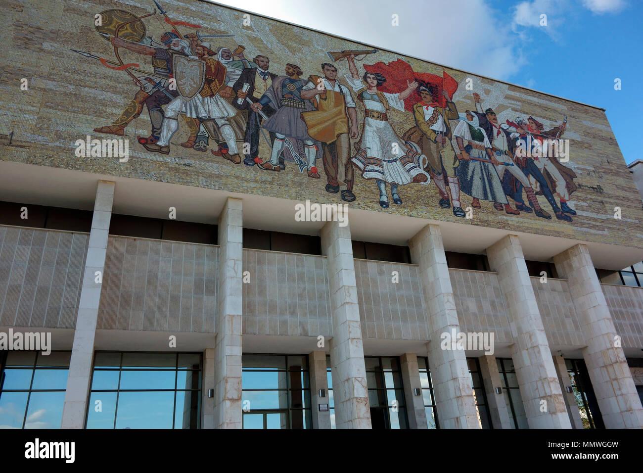 National Museum of History and the Albanian victorious history mosaic on its facade, Tirana, Albania, Balkans - Stock Image