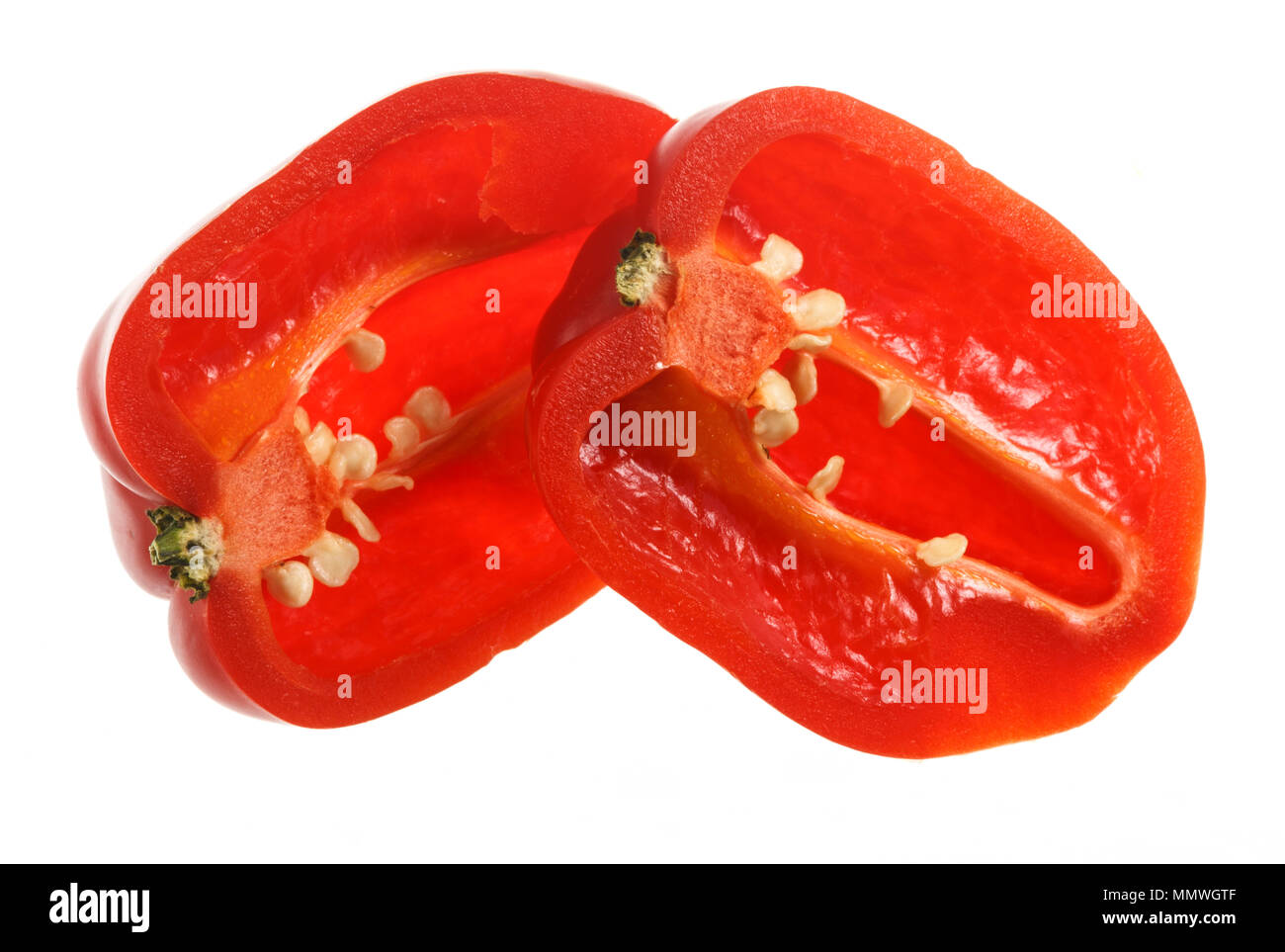 The Habanero is a medium sized chili pepper pod type cultivar of the species Capsicum annuum. It is a very hot chili, with a floral aroma, originated  - Stock Image
