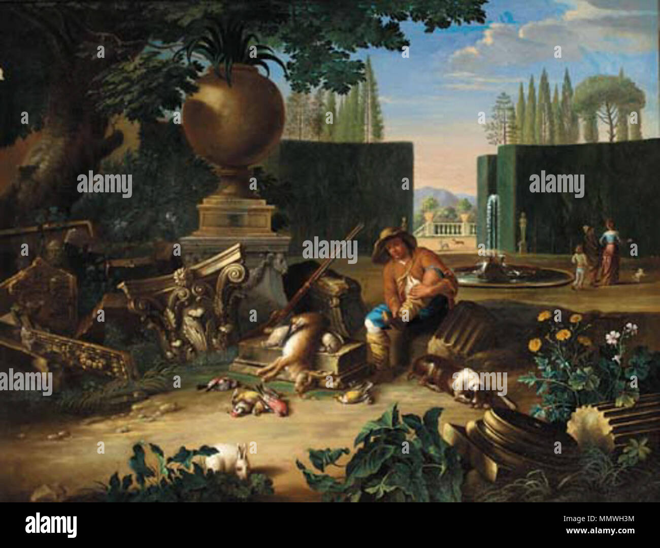 English: A formal garden with a hunter and his dog resting beside