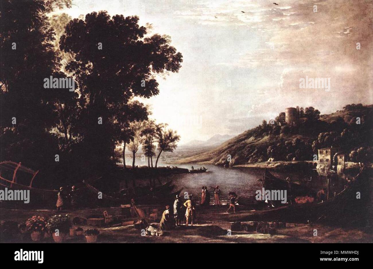 Landscape with Merchants. circa 1630. Claude Lorrain - Landscape with Merchants - WGA04975 Stock Photo