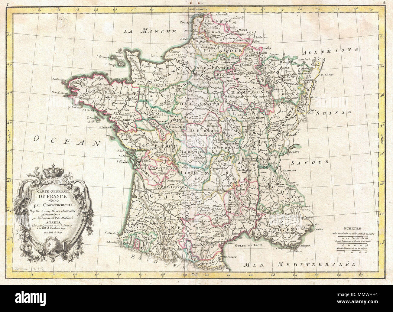 Regional Map Of France In English.English A Beautiful Example Of Rigobert Bonne S Decorative Map Of