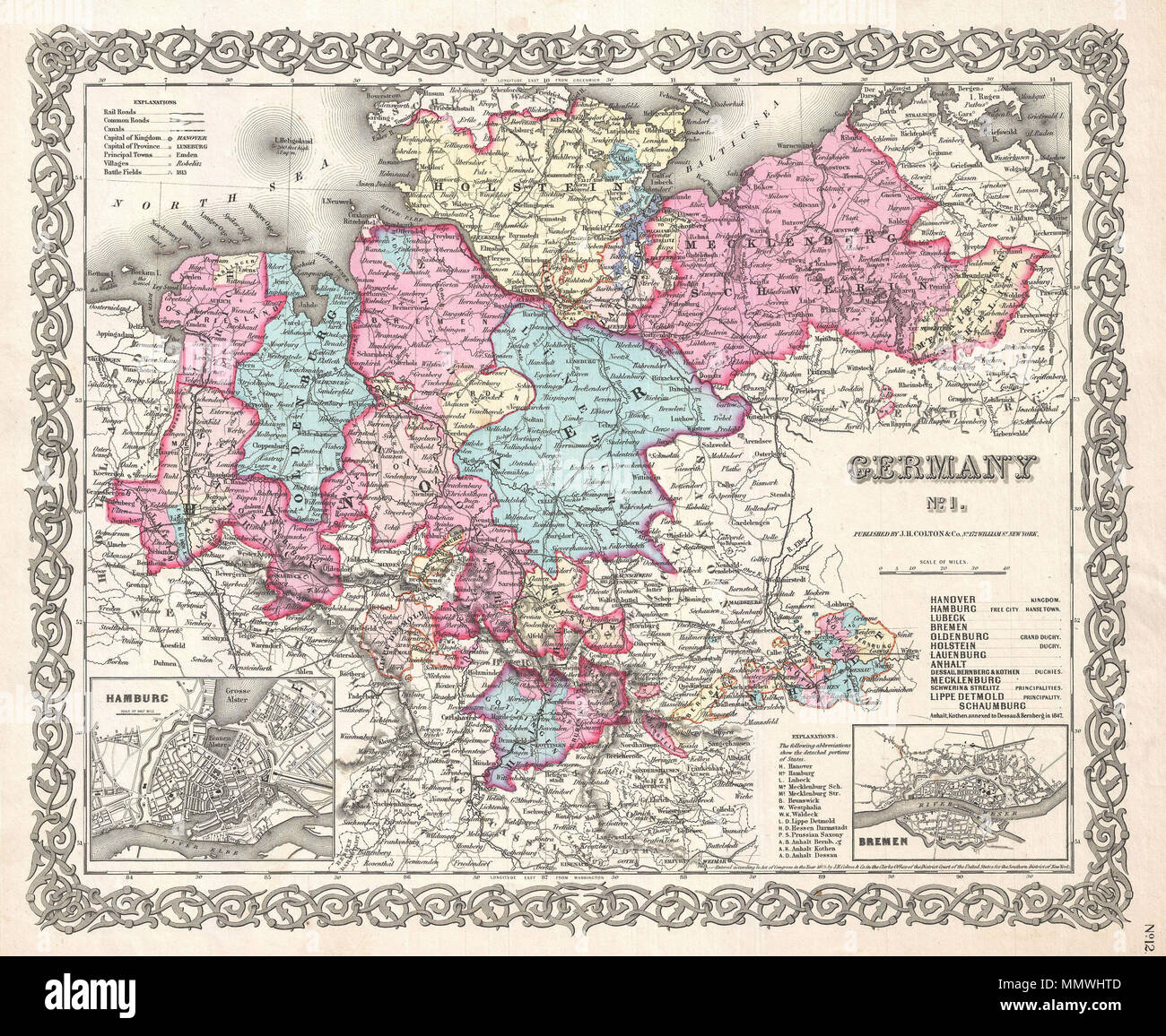 Map Of Germany With Cities And Towns In English.English A Beautiful 1855 First Edition Example Of Colton S Map Of
