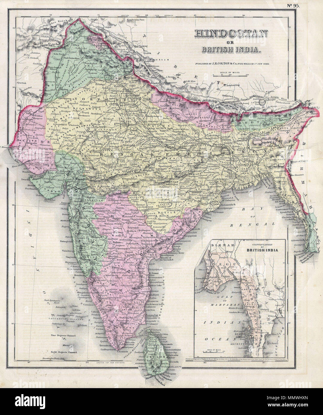 .  English: This hand colored map of India or Hindostan is a steel plate engraving, dating to 1855 by the well regarded mid 19th century American cartographer Colton. Map depicts most of what is today modern India and what was, when this map was made, British India. Also includes the province of Pegu or what is now Burma / Myanmar.  India or Hindostan.. 1855. 1855 Colton Map of India or Hindostan - Geographicus - India-cbl-1855 - Stock Image